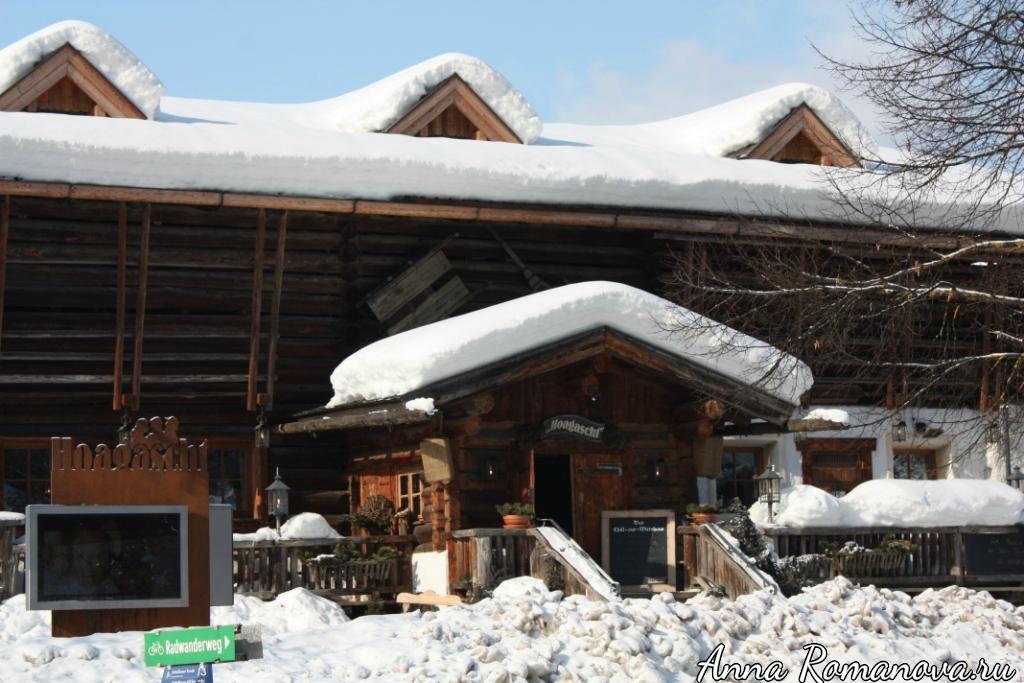 Деревянные дома в горах Флахау