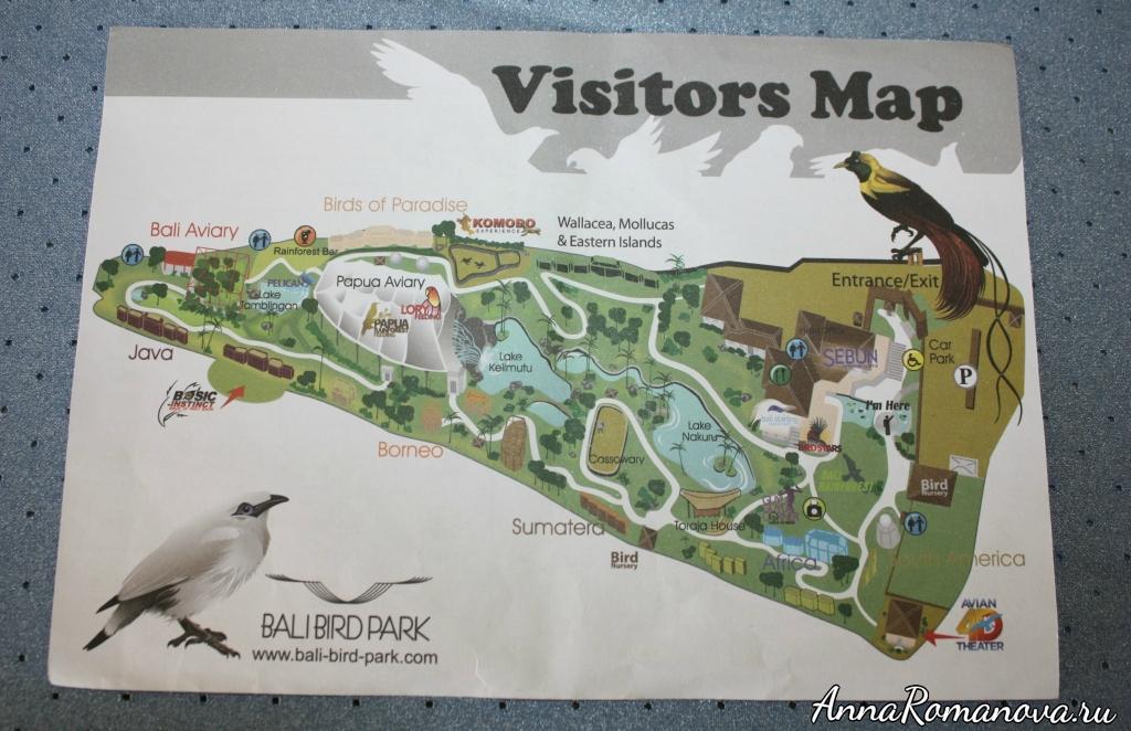 карта парка птиц на бали