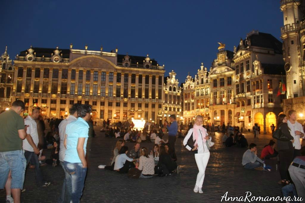 Гранд Плас ночью в Брюсселе