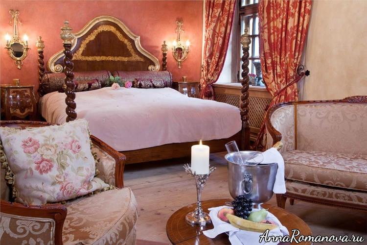 Спальня в отеле Шлоссотель Матцен