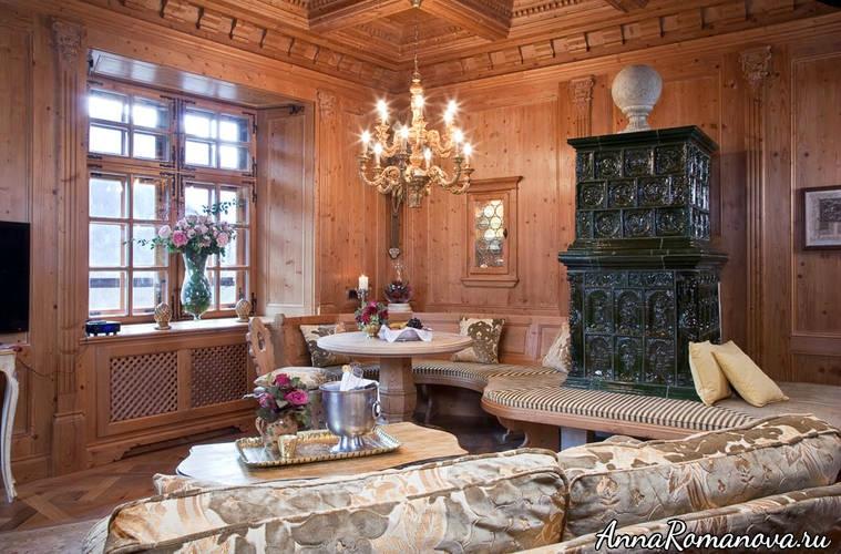 гостиная с уютным камином- Шлоссотель Матцен