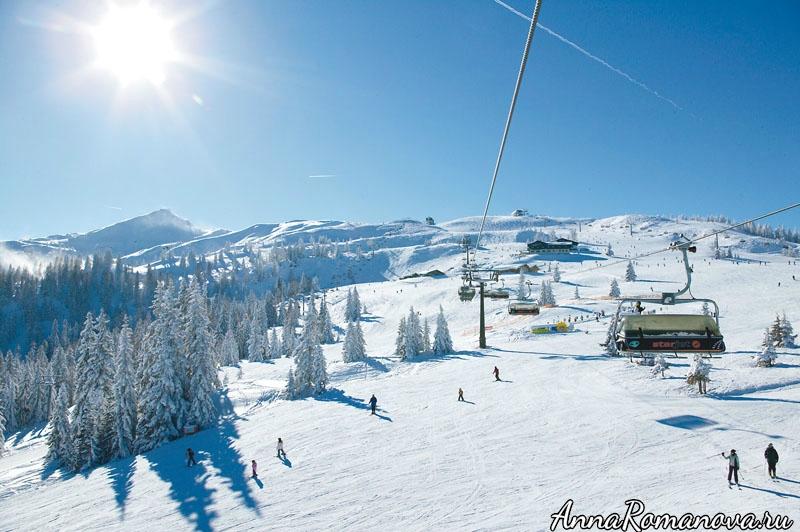 Отель-замок Шлосс Лакнерхоф-Флахау-катание на лыжах зимой