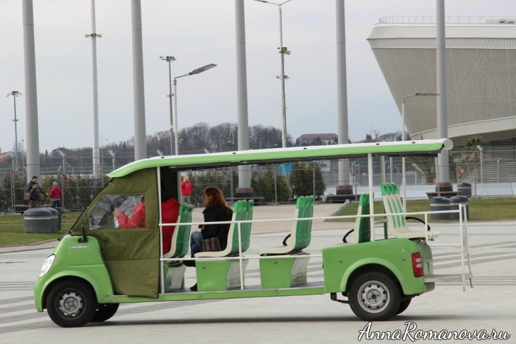 электромобиль в олимпийском парке в сочи